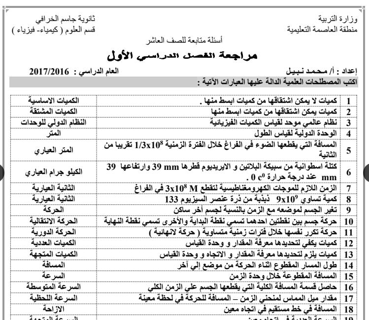 مراجعة الفصل الاول فيزياء اعداد محمد نبيل ثانوية جاسم الخرافي 2016-2017