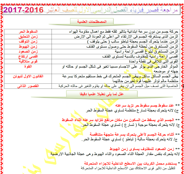 مراجعة قصيرفيزياء عاشر اعداد محمد عبدالظاهر الفصل الاول
