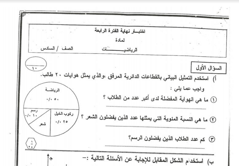 الامتحان النهائي رياضيات الصف السادس الفصل الدراسي الثاني 2014-2015