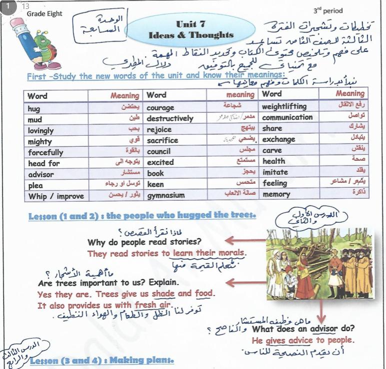 تشجيرات اللغة الانلجيزية للصف الثامن الفصل الثاني اعداد دلال المطيري 2017-2018