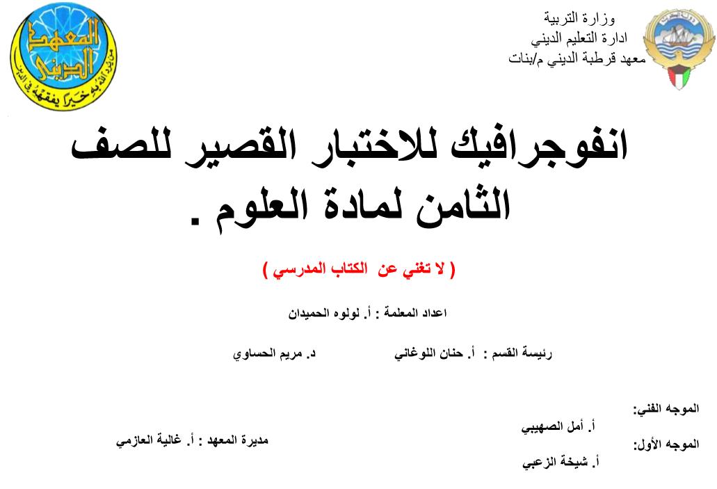 انفوجرافيك الاختبار القصير للصف الثامن علوم الفصل الثاني اعداد لولوة الحمدان 2017-2018