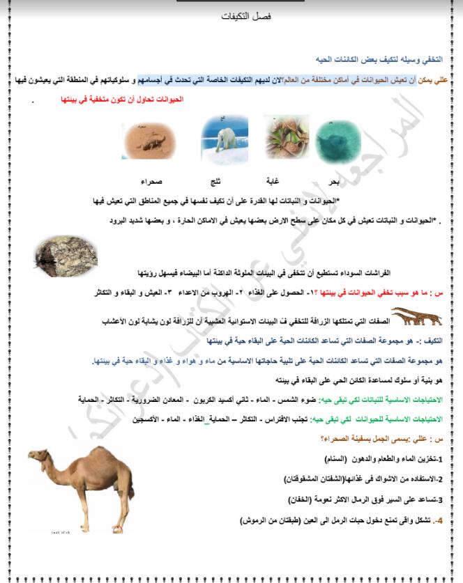 تلخيص علوم الصف السادس الفصل الاول