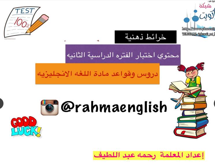 خرائط ذهبية ودروس وقواعد لغة انجليزية المعلمة رحمه عبداللطيف