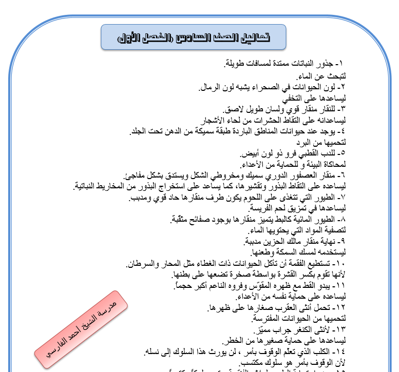 تعاليل سادس الفصل الأول مدرسة الشيخ احمد الفارسي 2016-2017
