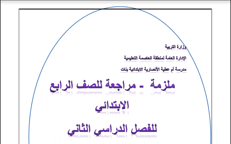 مراجعة مدرسة ام عطية الانصارية للصف الرابع علوم الفصل الثاني اعداد وفاء الجعفر