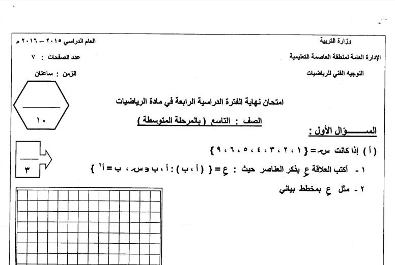 اختبار غير محلول رياضيات تاسع الفصل الثاني العاصمة التعليمية 2015-2016