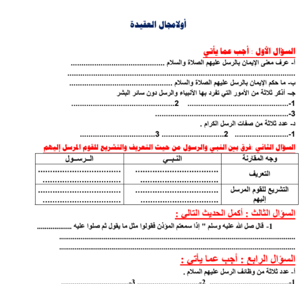 مذكرة اسلامية للصف السابع منتصف الفصل الثاني 2016-2017 | مدرستي الكويتية