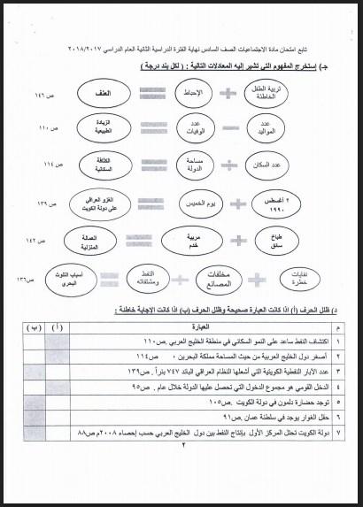 نموذج اجابة اجتماعيات الصف السادس الفروانية 2017-2018