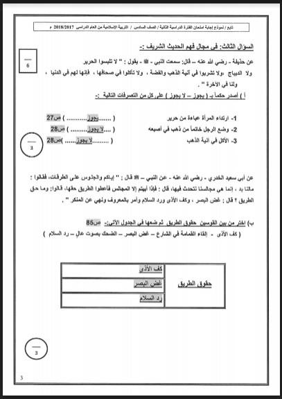 نموذج اجابة اسلامية للصف السادس حولي التعليمية 2017-2018