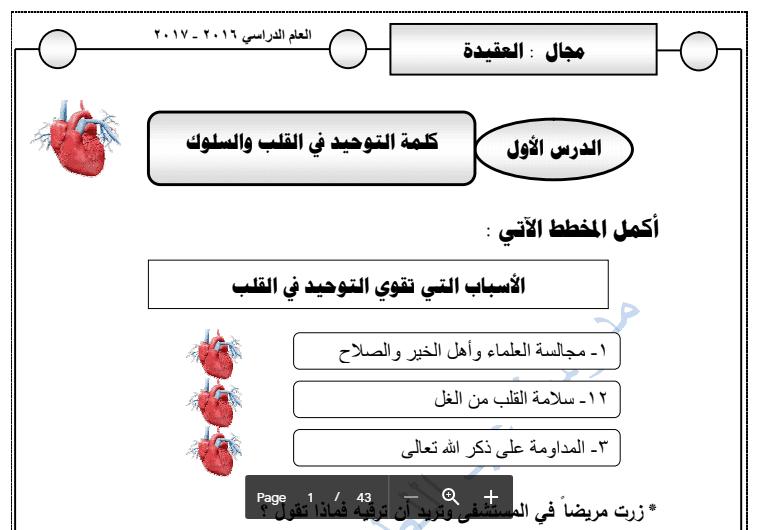 الدرس الأول كلمة التوحيد التربية الاسلامية للصف السادس مدرسة عبد اللطيف الشملان 2016-2017