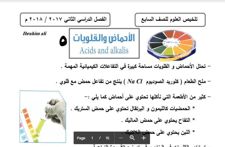 تلخيص علوم الأحماض والقلويات الصف السابع اعداد ابراهيم علي 2017-2018