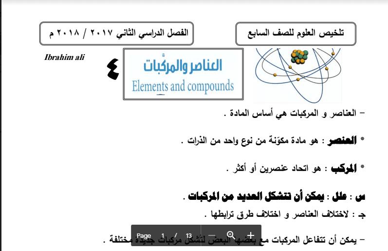 تلخيص تلخيص علوم العناصر والمركبات الصف السابع اعداد ابراهيم علي 2017-2018العناصر والمركبات الصف السابع 2017-2018