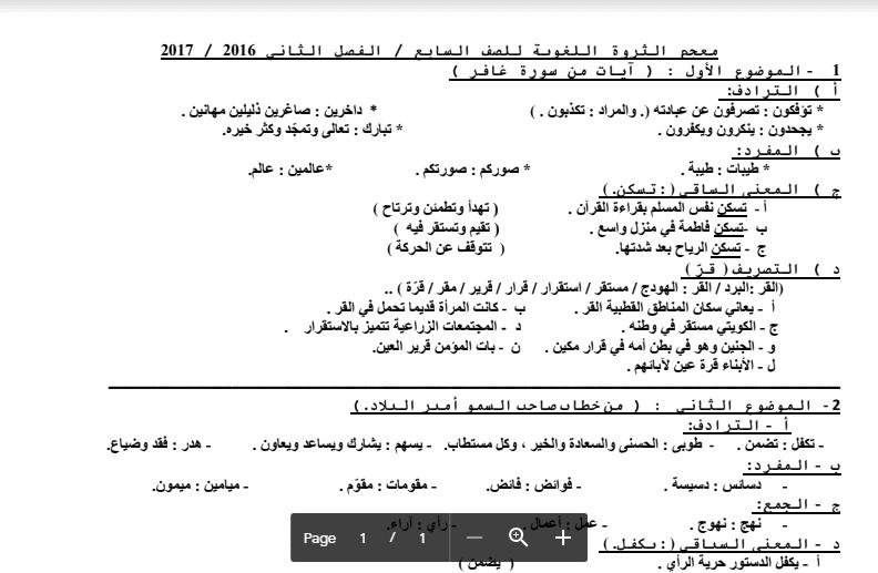 معجم الثروة اللغوية الصف السابع 2016-2017