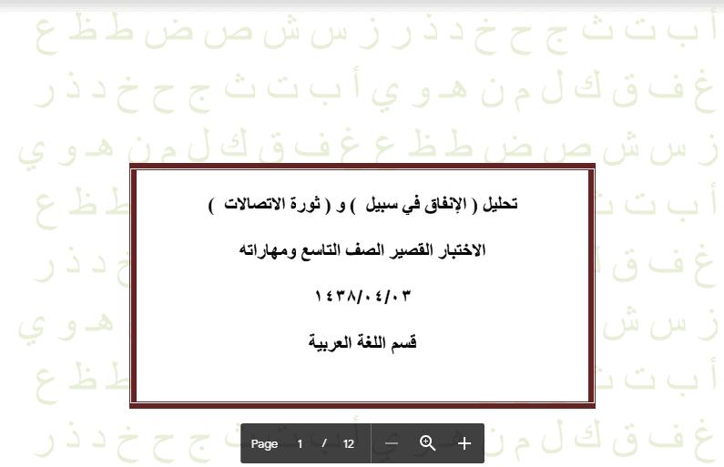 مراجعة ومهارات اختبار قصير عربية الصف التاسع مدرسة المقداد بن الأسود 2017