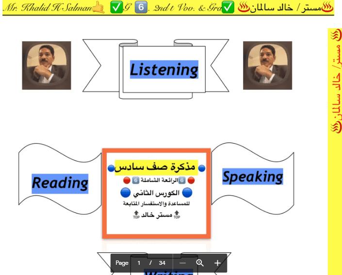 مذكرة انجليزية الصف السادس اعداد أ. خالد سالمان الفصل الثاني