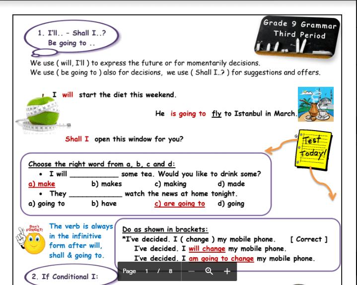 قواعد انجليزية الصف التاسع الفصل الثاني اعداد دلال المطيري