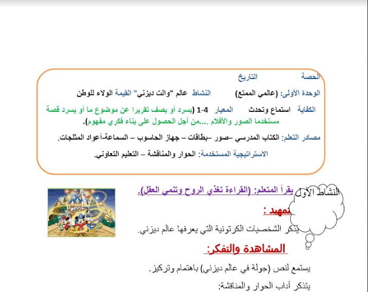 تحضير الوحدة الاولى لغة عربي الصف الرابع الفصل الثاني