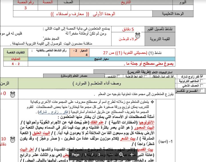 تحضير الوحدة الاولى لغة عربية الحصة الثالثة الصف السادس الفصل الثاني