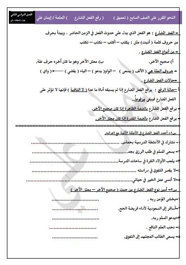 النحو المقرر للصف السابع لغة عربية رفع الفعل المضارع الفصل الثاني اعداد إيمان علي 2018-2019