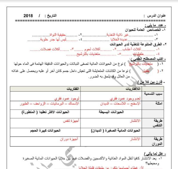حل أوراق عمل أحياء الصف العاشر الفصل الثاني ثانوية سلمان الفارسي 2018