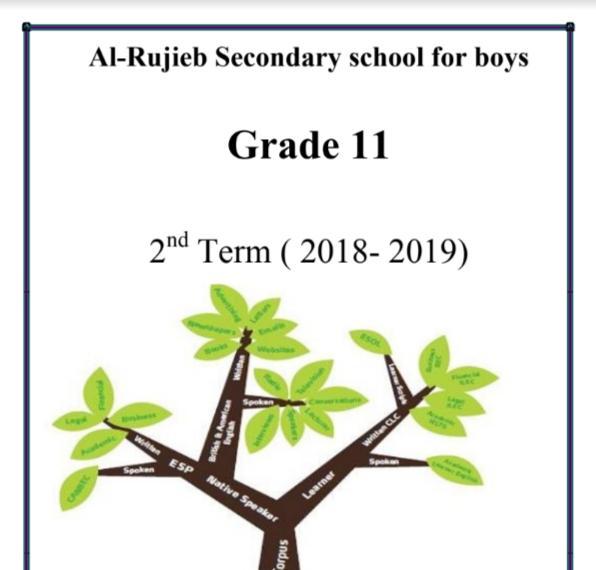 مذكرة لغة إنجليزية الصف الحادي عشر الفصل الثاني ثانوية الرجيب 2018-2019