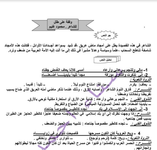 مذكرة لغة عربية وقفة على طلل الصف العاشر الفصل الثاني إعداد سناء أحمد 2018-2019