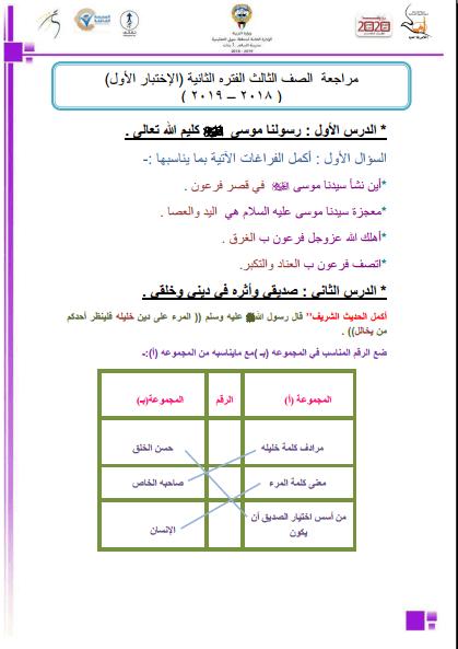 مراجعة الصف الثالث اسلامية الإختبار الأول الفترة الثانية مدرسة السلام الابتدائية 2018-2019