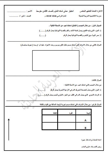 اختبار عملي لمادة العلوم للصف الثامن الفصل الثاني مدرسة الأكاديمية العربية الحديثة 2018-2019