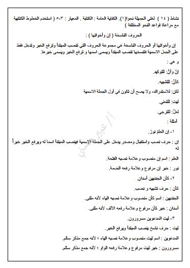 مذكرة لغة عربية النحو للصف السادس الفصل الثاني إعداد عبير حسني