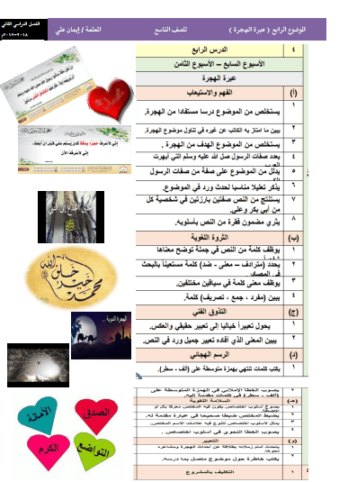 الموضوع الرابع عبرة الهجرة لغة عربية للصف التاسع الفصل الثاني إعداد إيمان علي 2018-2019
