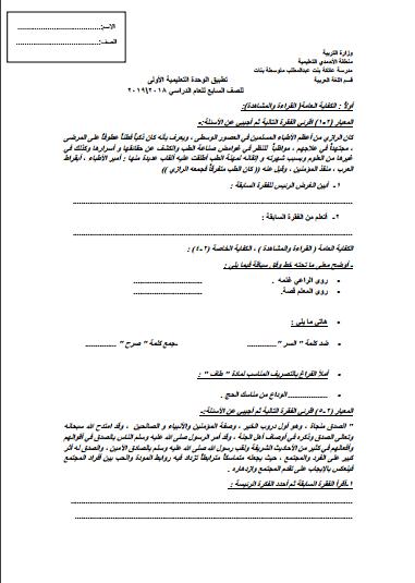 تطبيق الوحدة الأولى لغة عربية للصف السابع الفصل الثاني مدرسة عائكة بنت عبد المطلب المتوسطة 2018-2019