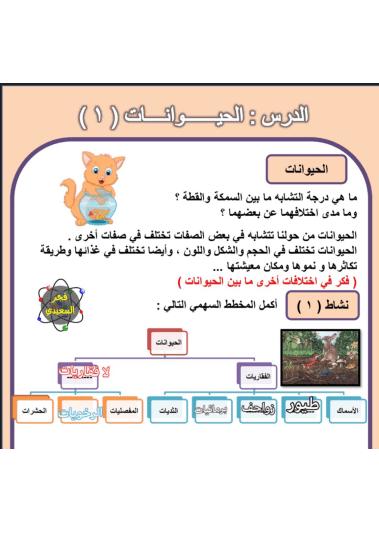 حل درس الحيوانات 1 علوم المنهج المساند للصف الرابع الفصل الثاني إعداد أ. فجر السعيدي
