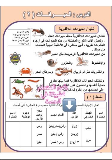 حل درس الحيوانات 2 علوم المنهج المساند للصف الرابع الفصل الثاني إعداد أ. فجر السعيدي