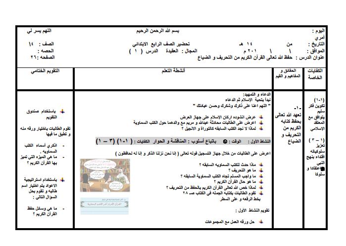 تحضير كفايات تربية إسلامية للصف الرابع الفصل الثاني