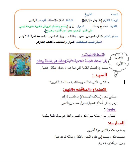 تحضير الوحدة الثانية لغة عربية للصف الرابع الفصل الثاني
