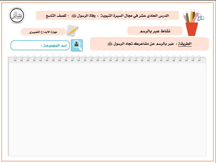 نشاط الدرس الحادي عشر تربية إسلامية للصف التاسع الفصل الثاني إعداد أ. بشاير الشويب