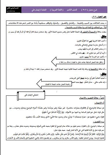 شرح معيار 2-3 لغة عربية للصف الثامن الفصل الثاني إعداد أ. إيمان علي 2018-2019