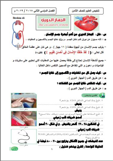 تلخيص علوم الجهاز الدوري للصف الثامن الفصل الثاني إعداد أ. إبراهيم علي 2018-2019