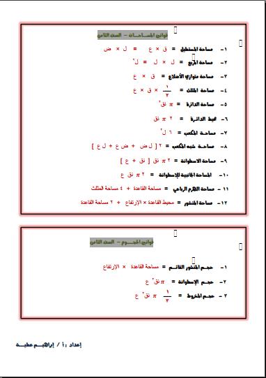 قوانين المساحات والحجوم رياضيات للصف الثامن الفصل الثاني إعداد أ. إبراهيم عطية
