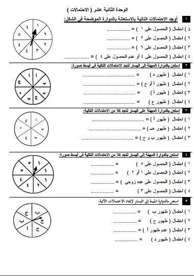 مراجعة رياضيات للصف السادس الوحدة الثانية عشر الفصل الثاني