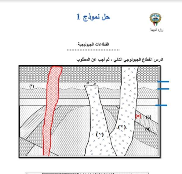 حل نموذج 1 القطاعات الجيولوجية الصف الحادي عشر الفصل الثاني