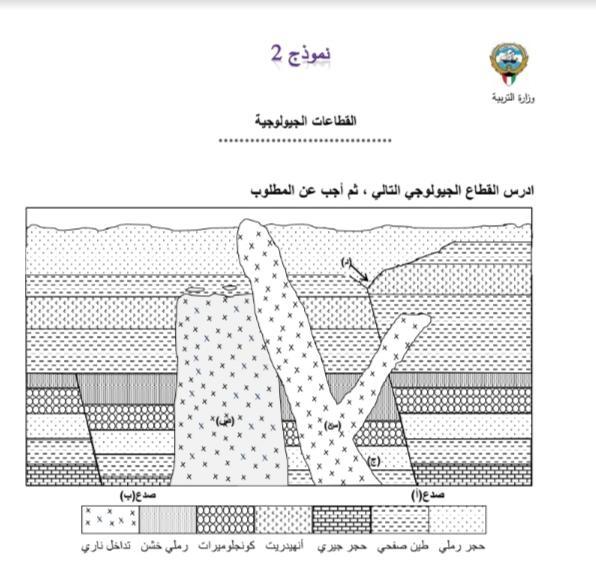 نموذج 2 القطاعات الجيولوجية الصف الحادي عشر الفصل الثاني