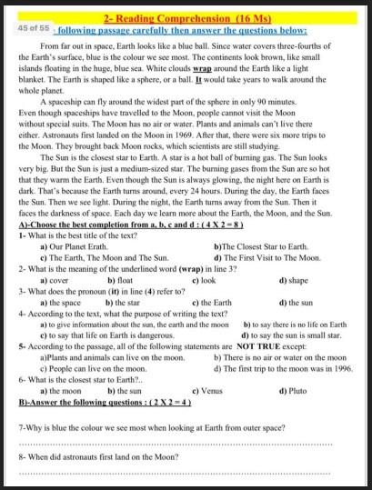 نماذج امتحانات لغة إنجليزية للصف السادس الفصل الثاني
