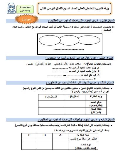 ورقة التدريب للامتحان العملي للصف السابع علوم الفصل الثاني إعداد أ. بلسم العتيبي