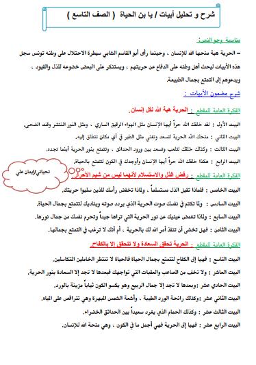 شرح وتحليل أبيات يا ابن الحياة للصف التاسع لغة عربية الفصل الثاني إعداد أ. إيمان علي