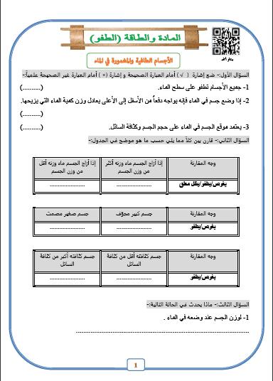 أوراق عمل علوم وحدة الطفو للصف السابع الفصل الثاني إعداد أ. بشار أحمد