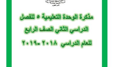 مذكرة علوم الوحدة التعليمية الخامسة للصف الرابع الفصل الثاني إعداد أ. مريم بن ناصر 2018-2019