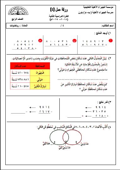 ورقة عمل 2 رياضيات للصف الرابع الفصل الثاني مدرسة الجهراء الأهلية 2018-2019