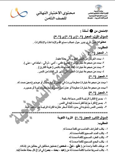 محتوى الاختبار النهائي لغة عربية للصف الثامن الفصل الثاني مدرسة الصفوة النموذجية