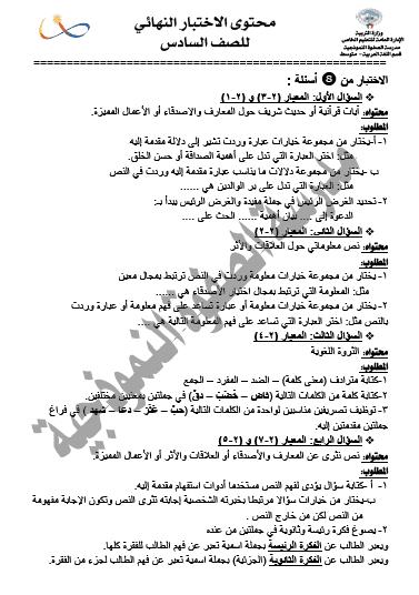 محتوى الاختبار النهائي لغة عربية للصف السادس الفصل الثاني مدرسة الصفوة النموذجية